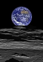 Earthrise over Compton crater -LRO full res