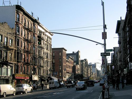 Looking south from East 6th Street down Second Avenue, one of the main thoroughfares through the East Village East Village Second Avenue.jpg