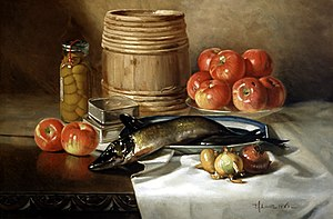 "Edward Chalmers Leavitt - ""Still Life with Fish,"" oil on canvas, Edward Chalmers Leavitt, 1886"