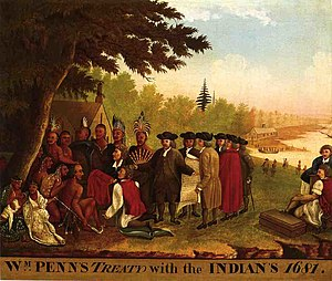 "Penn Treaty Park - ""Penn's Treaty with the Indians"" by Edward Hicks, 1837.  Hicks also included the subject in many of the 61 versions of his ""Peaceable Kingdom."""