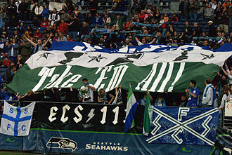 Seattle Sounders (1994–2008) - Emerald City Supporters display at the 2008 home opener.