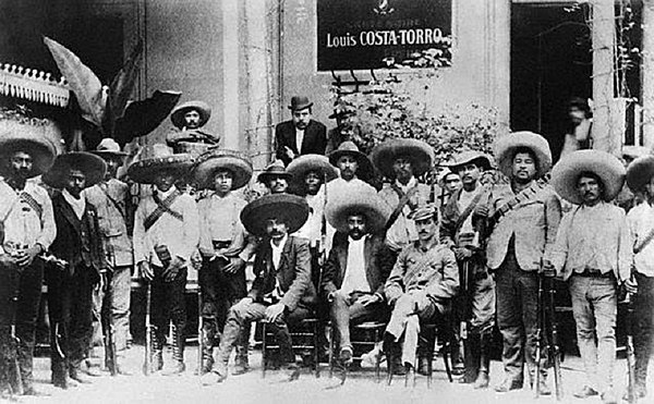 Emiliano Zapata and followers of the Liberation Army of the South. Both leaders tried to establish a Communist regime. Emiliano Zapata and followers.jpg