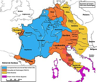 Italy in the Middle Ages - Expansion of the Frankish Empire: Blue = realm of Pippin III in 758, Orange = expansion under Charlemagne until 814, Yellow = marches and dependencies