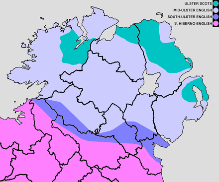 Approximate boundaries of the current and historical English/Scots dialects in Ulster. South to north, the colour bands represent Hiberno-English, South-Ulster English, Mid-Ulster English and the three traditional Ulster Scots areas. The Irish-speaking Gaeltacht is not shown. English dialects in Ulster contrast.png