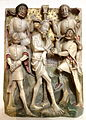 English reliefs, 1 of 3, Flagellation of Christ, perhaps Nottingham, c. 1440-1450, alabaster with traces of polychromy and gilding, lent by the Metropolitan Museum of Art - Chazen Museum of Art - DSC02024.JPG