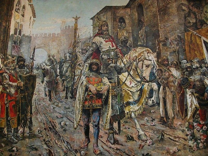 Entrada triomfal del rei Jaume I a la ciutat de València (1884), Fernando Richart Montesinos, Museu de Belles Arts de Castelló (detall). Font: Wikipedia