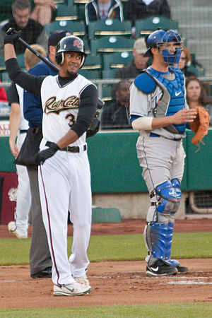 Eric Patterson - Patterson (left) batting for the Sacramento Rivercats, Triple-A affiliates of the Oakland Athletics, in 2009