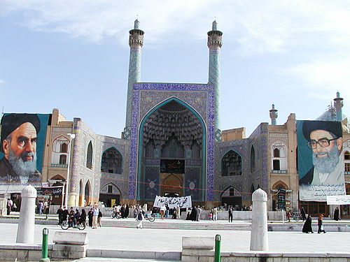 Murals of Khomeini and Ali Khamenei, Shah Mosque in Isfahan Esfahan (Iran) Emam Place with Emam Mosque.JPG