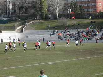 Estadio Nacional Complutense - A phase of the match between the national rugby union teams of Spain and Portugal in Madrid