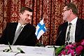 Estlands statsminister Andrus Ansip tillsammans med Finlands statsminister Matti Vanhanen under Nordiska Radets session i Oslo. 2007-10-29. Foto- Magnus Froderberg-norden.org.jpg