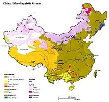 Mappa dei gruppi etnolinguistici Cinesi (Il gruppo han è quello verde palude)