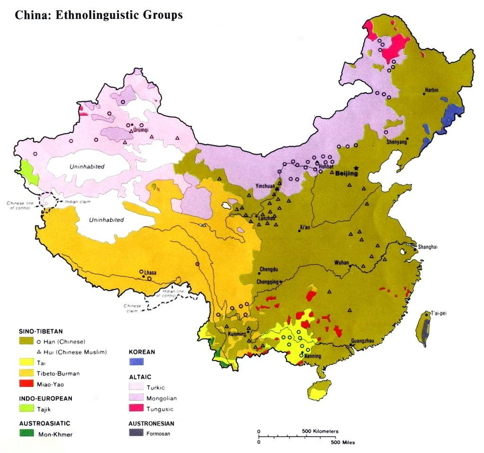 Ethnolinguistic map of China 1983