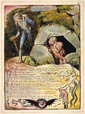 Trekking pole - A man bearing a hiking staff in an etching from William Blake's Europe a Prophecy first printed in 1794. This copy of the etching is currently held by the Fitzwilliam Museum