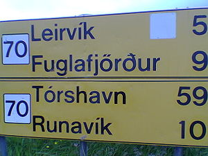 Double acute accent - Example of an ő on a Faroese traffic sign