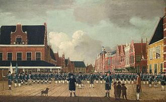 Patriottentijd - The civic militia (exercitiegenootschap) of Sneek, gathered on the market square in 1786