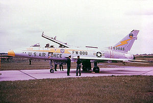 RAF Woodbridge - North American F-100F-10-NA Super Sabre, AF Serial No. 56-3888 of the 79th Tactical Fighter Squadron. This aircraft crashed 21 March 1962 near Chateauroux AB, France.