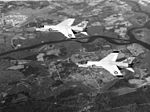F8U-2 Crusaders of VMF-333 over MCAS Cherry Point c1958.jpg