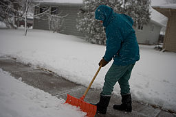 FEMA - 40421 - North Dakota resident shovels snow off his sidewalk