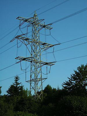 Transposition (telecommunications) - Pylon 206 of powerline Hoheneck-Herbertingen near Rübgarten.