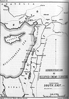 joint British and French military administration over parts of the Levant and Mesopotamia