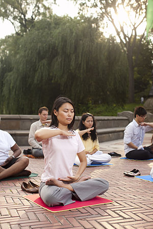 Falun Gong - Falun Gong adherents practice the fifth exercise, a meditation, in Manhattan