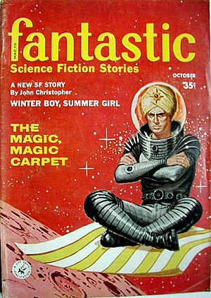 "Magic carpet - A. Bertram Chandler's novelette ""The Magic, Magic Carpet"" was the cover story for the October 1959 issue of Fantastic"