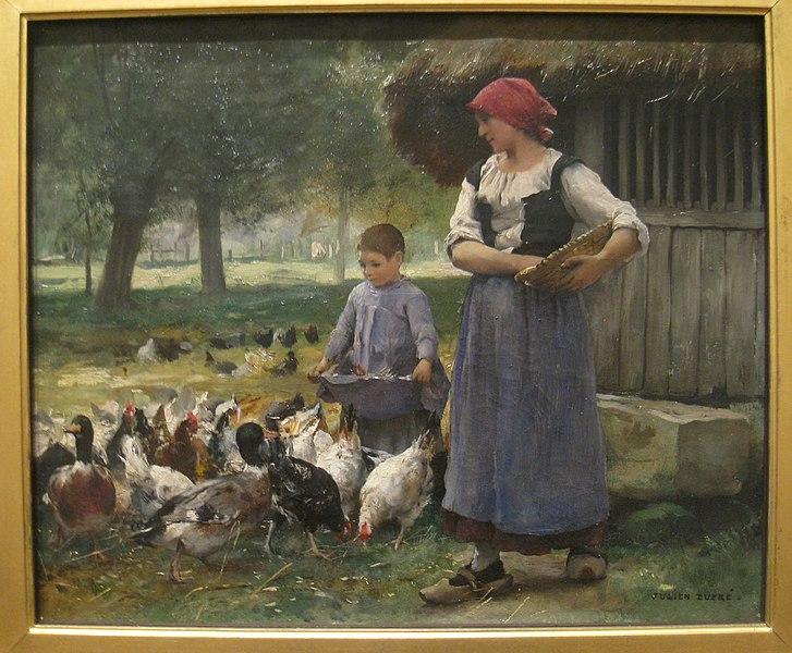 File:Farm Girl Feeding Chickens by Julien Dupre (1851-1910) - IMG 7225.JPG