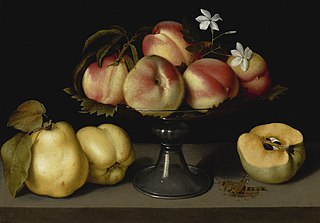 Peaches in a Glass Bowl with Quinces and a Grasshopper