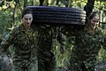 Female Australian soldiers carrying a tire during a PT exercise in 2015.jpg