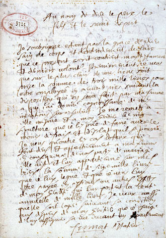 Pierre de Fermat - Holographic will handwritten by Fermat on 4 March 1660 — kept at the Departmental Archives of Haute-Garonne, in Toulouse