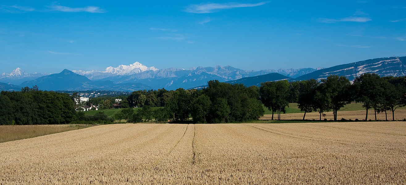 Ferney-Voltaire and Geneva -- Looking South towards Mont Blanc.