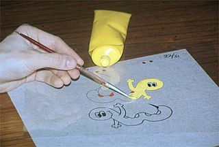 Traditional animation animation technique in which frames are hand-drawn