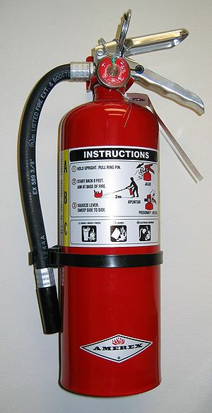 Fire extinguisher - A stored-pressure fire extinguisher made by Amerex