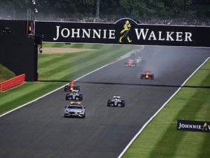 2016 British Grand Prix - Due to rain shortly before the start, the race commenced behind the safety car.