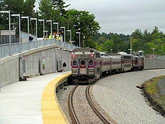 Wachusett station - The first revenue train at Wachusett station in September 2016