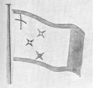 Pōtatau Te Wherowhero - The flag hoisted at Ngāruawāhia on the proclamation of Pōtatau Te Wherowhero as Māori King, drawn 1863.