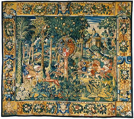 Tapestry with a hunting scene, late 16th century Flanders Tapestry with the hunting scene.jpg