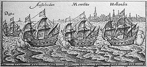 Bawean - Expedition of Cornelis de Houtman. The ship Amsterdam (second left) crashed near Bawean. Engraving c. 17th century