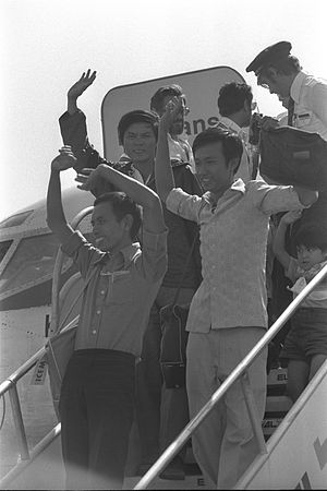 Overseas Vietnamese - Vietnamese refugees arriving at Ben-Gurion International Airport, In Israel