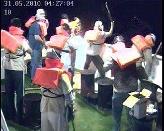 Gaza flotilla raid - Footage taken from the Mavi Marmara security cameras shows the activists preparing to attack IDF soldiers.