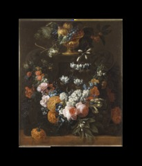 Flower Garland and Gilded Bowl of Fruit