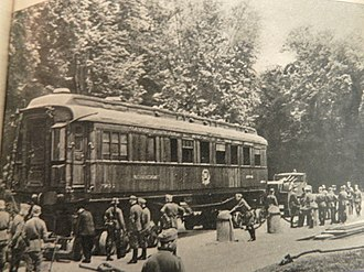 Armistice of 22 June 1940 - Ferdinand Fochs Railway Car, at the same location as after World War One, prepared by the Germans for the second armistice at Compiègne, June 1940