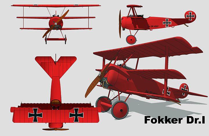 Plan 3 vues du Fokker Dr.I