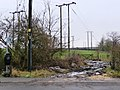 Footpath heading up a muddy track, past a field full of wooden pylons - geograph.org.uk - 1691454.jpg