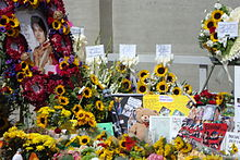 Portrait tribute, other tribute items, mural and messages from 650 Spanish fans, letters, pictures, teddy bears, etc.), sunflowers and other kind of flowers were dropped off by fans from all over the world at Forest Lawn Memorial Park on the first anniversary of Michael Jackson.