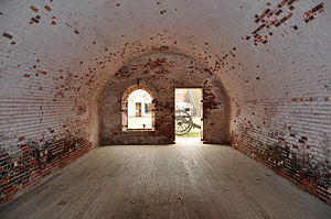 Fort Macon State Park - Fort Macon view of casement looking into the central courtyard.