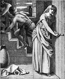 Foster Bible Pictures 0084-1 Rahab Helping the Two Israelite Spies