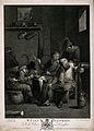 Four Boors round a barrel table smoking and drinking. Engrav Wellcome V0019527.jpg