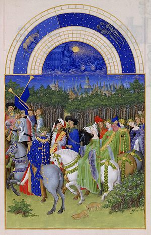 Marie, Duchess of Auvergne - The month of May. Marie of Berry is seen centre foreground, riding a white horse, at her marriage to John of Bourbon. The Palais de la Cité where she was married may be the building in the centre background. Très Riches Heures du Duc de Berry: Musée Condé