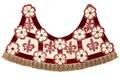 Framdel till tornerschabrak i Maria Eleonoras färger rött och vitt tillverkat för bröllopstorneringen 1620 - Livrustkammaren - 91557.tif